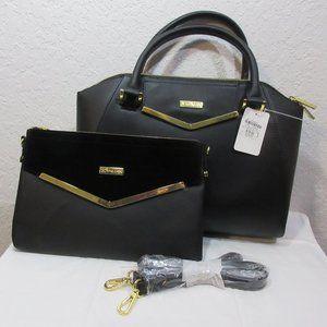 JOY & IMAN Couture Leather Satchel & Clutch / Crossbody  ~ Black NWT